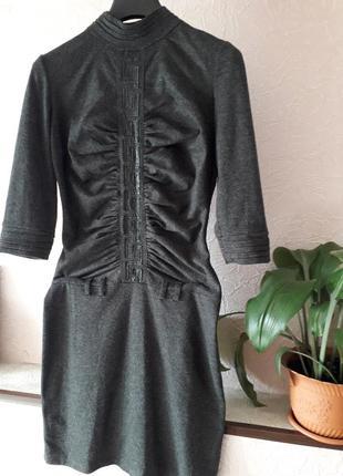 Женское теплое платье футляр с рукавом демисезон зима осень ве...