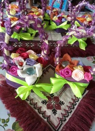 Красивые цветочные корзинки ручной работы на подарок