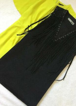 Платье джинсовое графит с бахромой topshop размер 10/12
