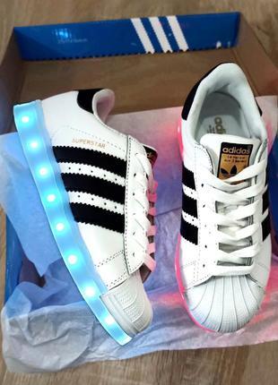 Led белые черно белые кроссовки с подсветкой кеды детские свет...
