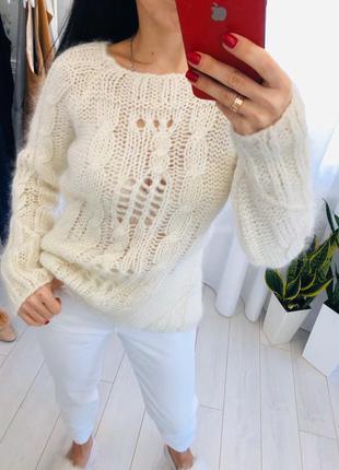 Объемный свитер мохер крупной вязки h&m