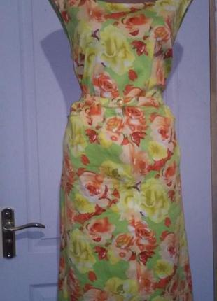 Летний костюм батал. юбка с карманами