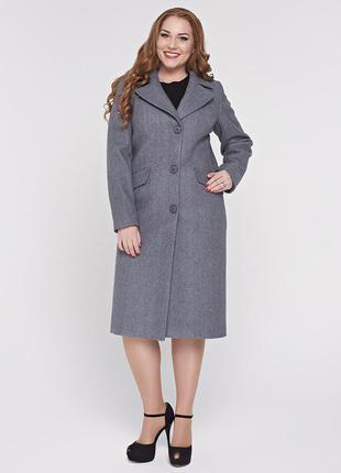 Скидка длинное классическое демисезонное серое пальто батал бо...
