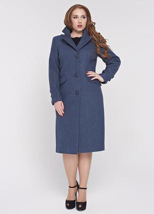 Скидка длинное классическое демисезонное синее пальто батал бо...