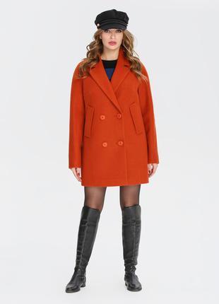 Женское демисезонное терракотовое полу пальто
