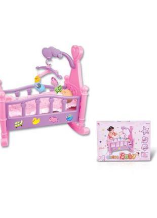 Кроватка для кукол пупсов ростом до 41 см с мобилем
