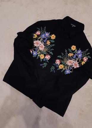 Блузка рубашка свободная с вышивкой,объёмный рукав размер 16-1...