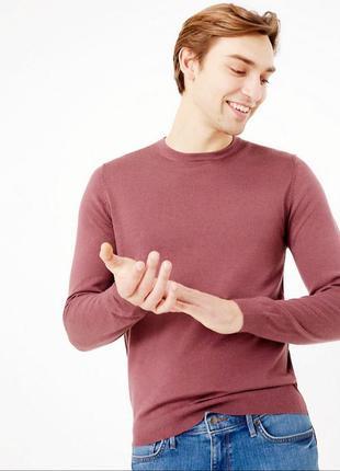 Тонкий мужской премиум свитер джемпер шерсть мериноса