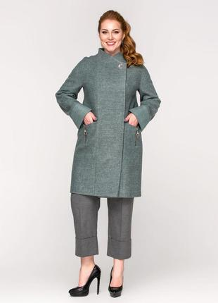 Стильное женское демисезонное пальто цвет полынь большие размеры