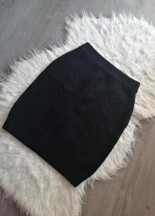 Натуральная теплая, вязаная юбка