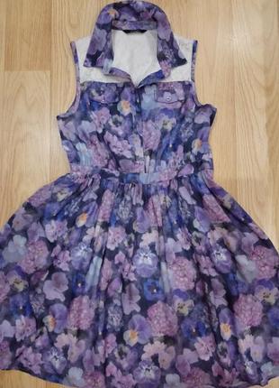 Модное платье в цветы. 8-9 лет.128-135см
