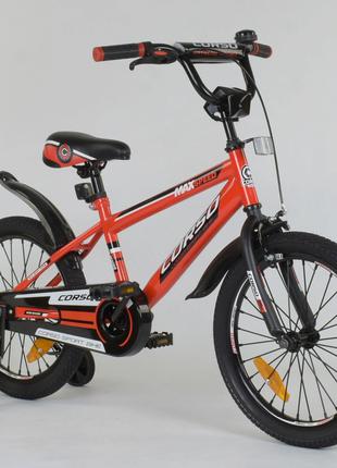 """Детский велосипед 18 дюймов """"Corso"""" Aerodynamic 2077, красный"""