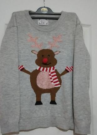 Новогодний свитер с оленем.3д.