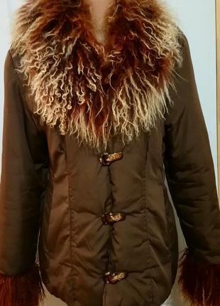 Куртка с натуральным мехом. лама.