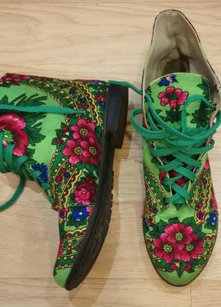 Итальянские ботиночки в стиле матрешка или павлопосадский платок)