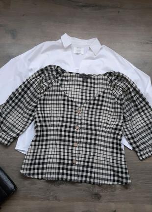 Рубашка женская хлопковая в клетку. Сорочка жіноча
