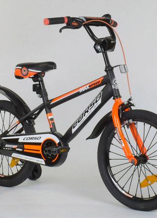 """Детский велосипед 18 дюймов """"Corso"""" Aerodynamic 4044, тёмно-серый"""