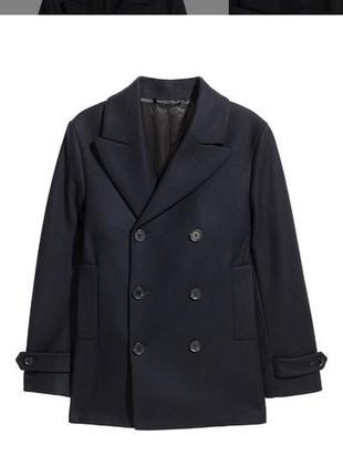 Оригинальное мужское темно-синее пальто-бушлат h&m, размер 52-54