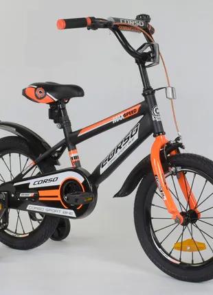 """Детский велосипед 16 дюймов """"Corso"""" Aerodynamic 8022, тёмно-серый"""