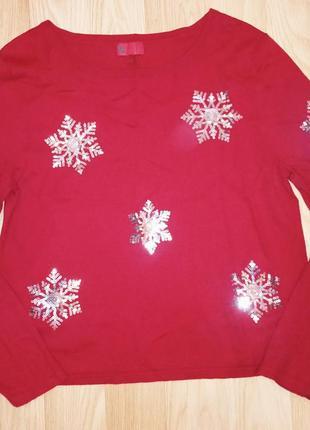 Тонкий новогодний свитер с паетками