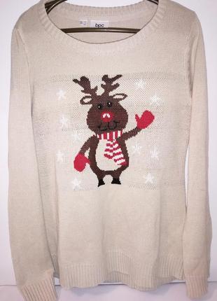 Новогодний свитер с оленем . от бонприкс