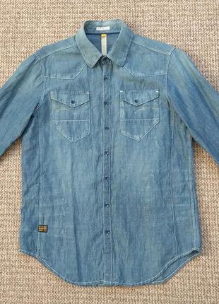 G-star raw рубашка хлопок + лён оригинал (l)