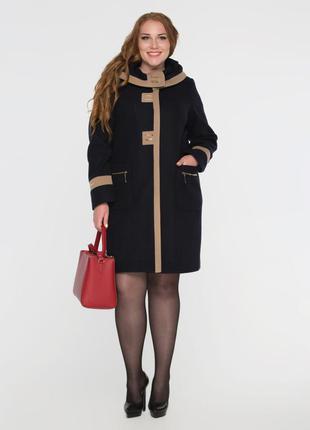 Женское демисезонное темно синее пальто с капюшоном батал 64-70р