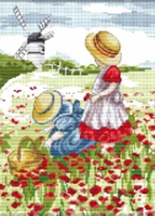 Набор для вышивки крестом   Маковое поле 24*30 см