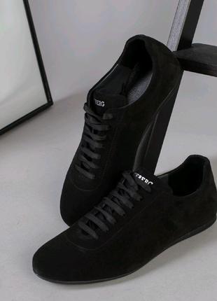 Мужские демисезонные натуральные замшевые туфли кроссовки кеды