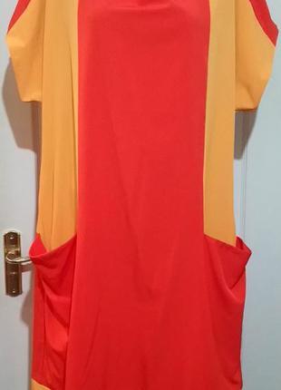 Яркое платье с карманами . размер 60