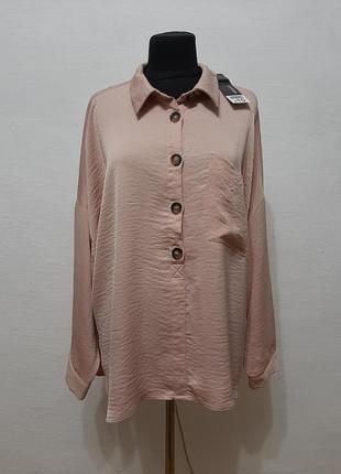 Стильная модная блуза в нюдовом цвете большого размера