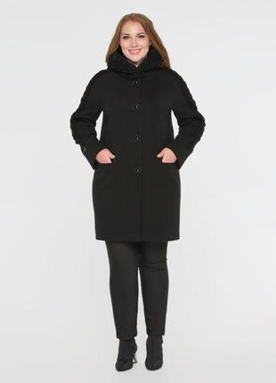 Женское демисезонное черное пальто с вязаными вставками с капю...
