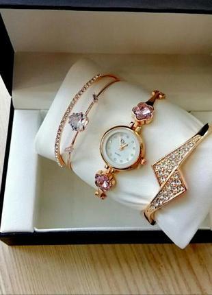 Красивый комплект часы и браслеты подарок 💝 на 8 марта