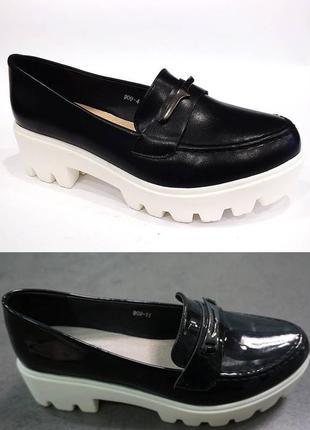 Цена оптовая удобные черные туфли на тракторной подошве есть р...