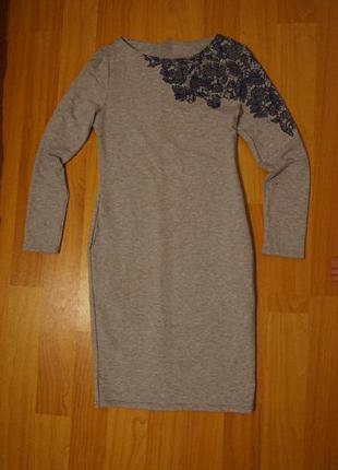 Новое платье миди серого цвета - плотная ткань
