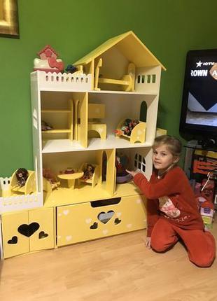 Домик шкаф для кукол Кукольный домик с ящиком Дом для кукол