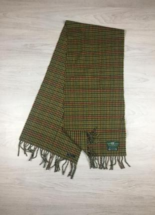 Крутой мужской шарф henry cotton's lambswool lana в клетку bur...