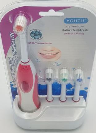 Электрическая зубная щетка портативная электрощетка 4 насадки ...