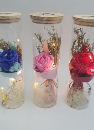 Роза в колбе с LED подсветкой романтический подарок ночник 26 см