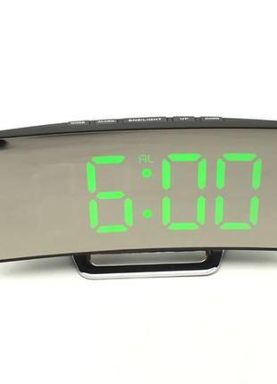 Электронные LED часы с термометром зеркальный изогнутый диспле...