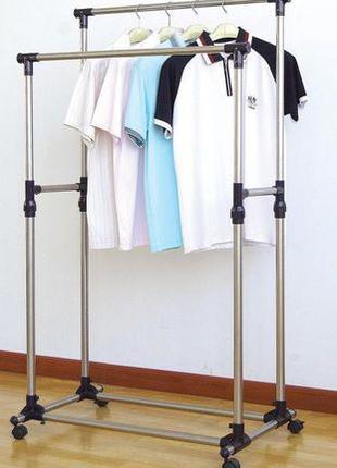 Телескопическая стойка вешалка для одежды и обуви Double Pole ...