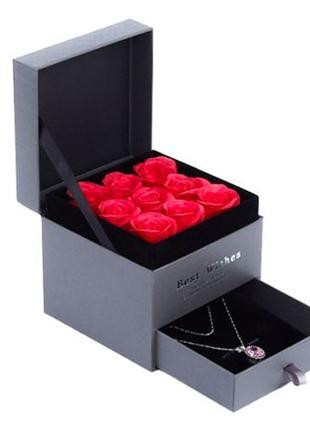 Алые розы из мыла в Подарочной коробке набор подарок мыло из р...
