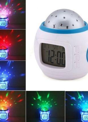 Музыкальные часы Будильник с проектором звездного неба 6 цвето...