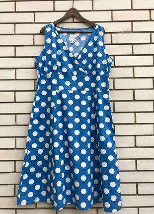 Голубое платье,сарафан в крупный горох,большой размер,батал, j...
