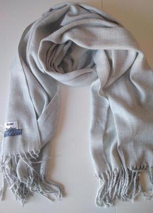 Изысканный светло-серый шарф, палантин acne studios, 100% овеч...