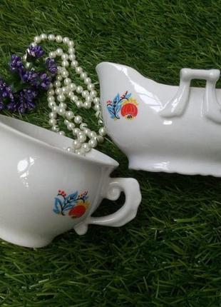 Чайный севиз (конфетница и сахарница) фарфоровый ссср коростен...