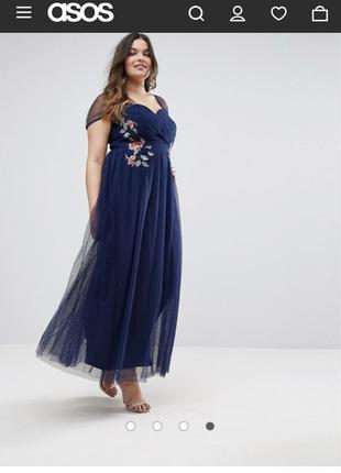 Красивейшее нарядное длинное выпускное платье в пол с вышивкой