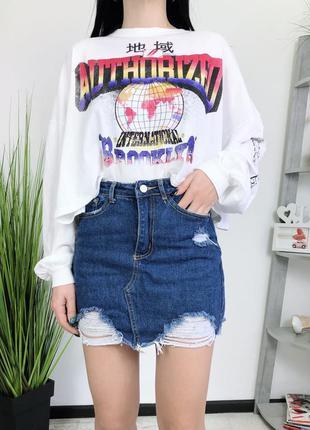 Джинсовая юбка высокая посадка рваная missguided