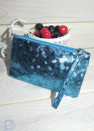 Голубой клатч кошелек косметичка сумка женская на молнии с пет...