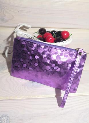 Лиловый клатч кошелек косметичка сумка женская на молнии с пет...
